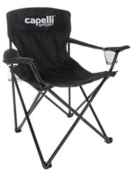 FUSION FC FOLDING SOCCER CHAIR WITH CUP HOLDERS AND CARRYING CASE --   BLACK WHITE