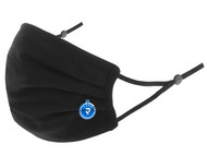 PENN FC YOUTH 100% COTTON SPORTY PLEATED BODY FACE MASK WITH FILTER POCKET & ADJUSTABLE EAR LOOPS (FILTER PADS NOT INCLUDED) -- BLACK