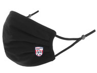 SOCCER STARS UNITED 100% COTTON SPORTY PLEATED BODY FACE MASK WITH FILTER POCKET & ADJUSTABLE EAR LOOPS (FILTER PADS NOT INCLUDED) -- BLACK
