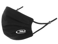 RUSH CONNECTICUT SHORELINE 100% COTTON SPORTY PLEATED BODY FACE MASK WITH FILTER POCKET & ADJUSTABLE EAR LOOPS (FILTER PADS NOT INCLUDED) -- BLACK