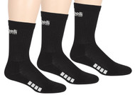 3 PACK CREW W/ 1/2 TERRY CUSHION, ARCH SUPPORT, Y-HEEL CONSTRUCTION & HAND LINKED TOE SEAM  --  BLACK