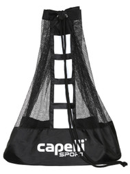 CAPELLI SPORT LARGE BALL BAG WITH EXTERIOR ZIP POCKET AND WRITABLE AREA --  BLACK WHITE