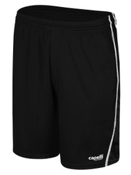 RAVEN SHORTS W/ EMBROIDERED LOGO AND MESH PANELS-- BLACK WHITE