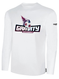 NASC BASICS LONG SLEEVE TEE SHIRT W/ TEXT GRAVITY LOGO -- WHITE BLACK