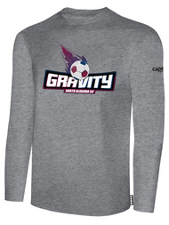NASC BASICS LONG SLEEVE TEE SHIRT W/ TEXT GRAVITY LOGO -- LIGHT HEATHER GREY