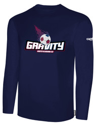 NASC BASICS LONG SLEEVE TEE SHIRT W/ TEXT GRAVITY LOGO -- NAVY