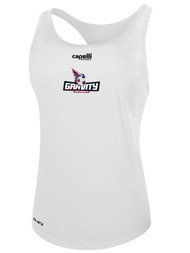 NASC WOMENS BASICS RACER BACK TANK TEXT GRAVITY LOGO -- WHITE  --  IS ON BACK ORDER, WILL SHIP BY 11/15