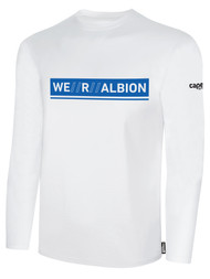 ALBION SC® SAN DIEGO PB BASICS COTTON  LONG SLEEVE TEE SHIRT W/ BLUE WE R ALBION BOX LOGO -- WHITE