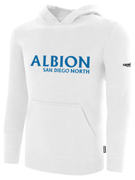 ALBION SC® SAN DIEGO NORTH PB BASICS FLEECE PULLOVER HOODIE W/ BLUE ALBION SAN DIEGO LOGO -- WHITE BLACK