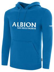ALBION SC® SAN DIEGO NORTH PB BASICS FLEECE PULLOVER HOODIE W/ WHITE ALBION SAN DIEGO LOGO -- BLUE WHITE