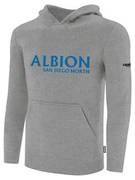 ALBION SC® SAN DIEGO NORTH PB BASICS FLEECE PULLOVER HOODIE W/ BLUE ALBION SAN DIEGO LOGO -- LIGHT HEATHER GREY