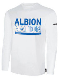 ALBION SC MERCED PB BASICS COTTON LONG SLEEVE TEE SHIRT W/ BLUE ALBION NATION BLOCK LOGO -- WHITE