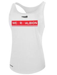 ALBION SC MERCED PB WOMEN'S POLYESTER RACER BACK TANK W/ RED WE R ALBION BOX LOGO -- WHITE