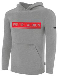 ALBION SC MERCED PB BASICS FLEECE PULLOVER HOODIE W/ RED WE R ALBION BOX LOGO -- LIGHT HEATHER GREY