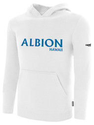 ALBION SC MERCED PB BASICS FLEECE PULLOVER HOODIE W/ BLUE ALBION  LOGO -- WHITE BLACK