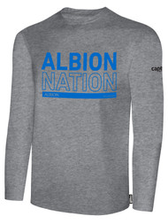 ALBION SC® TEMECULA PB BASICS COTTON LONG SLEEVE TEE SHIRT W/ BLUE ALBION NATION BLOCK LOGO -- LIGHT HEATHER GREY BLACK