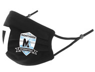 MONTVERDE INTERNATIONAL 100% COTTON SPORTY PLEATED BODY FACE MASK WITH FILTER POCKET & ADJUSTABLE EAR LOOPS (FILTER PADS NOT INCLUDED) -- BLACK