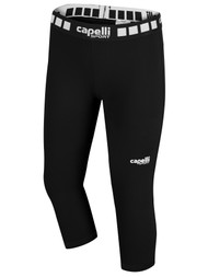 MIFC GIRLS AND WOMEN 3/4 PERFORMANCE TIGHTS -- BLACK WHITE