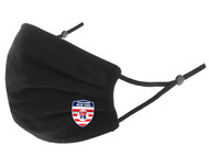 EASTERN NEW YORK 100% COTTON SPORTY PLEATED BODY FACE MASK WITH FILTER POCKET & ADJUSTABLE EAR LOOPS (FILTER PADS NOT INCLUDED) -- BLACK