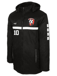 HUB SPARROW STADIUM JACKET WITH EMBROIDERED LOGO - NAME - NUMBER  -- BLACK WHITE
