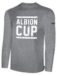 ALBION CUP LONG SLEEVES COTTON  T-SHIRT WITH ALBION CUP LOGO  - LIGHT HEATHER GREY