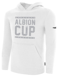 ALBION CUP BASICS FLEECE PULLOVER HOODIE  WITH ALBION CUP LOGO  -- WHITE