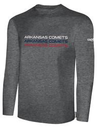 ARKANSAS COMETS BASICS LONG SLEEVE COTTON TEE-SHIRT  DARKHEATHERGREY WHITE