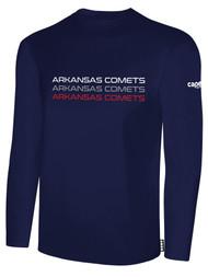 ARKANSAS COMETS BASICS LONG SLEEVE COTTON TEE-SHIRT  NAVY  WHITE