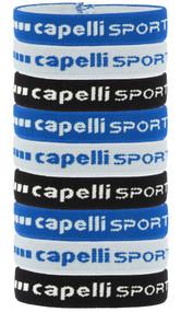 ARKANSAS COMETS  CAPELLI SPORT 9-PACK ELASTIC PONY HOLDER SET W/ SILICON LINING PROMO BLUE BLACKWHITE