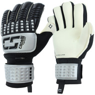 ARKANSAS COMETS CAPELLI SPORT 4-CUBE COMPETITION ELITE YOUTH GOALKEEPER GLOVE WITH FINGER PROTECTION BLACKSILVER