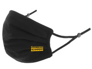 SACHEM SLAMMERS 100% COTTON SPORTY PLEATED BODY FACE MASK WITH FILTER POCKET & ADJUSTABLE EAR LOOPS (FILTER PADS NOT INCLUDED) BLACK