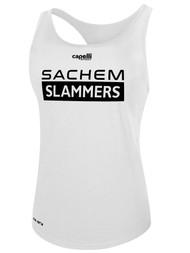 SACHEM SLAMMERS WOMEN'S BASIC RACER BACK TANK WHITE
