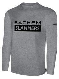 SACHEM SLAMMERS LONG SLEEVE COTTON TEE SHIRT LIGHTHEATHER GREY