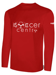 SOCCER CENTRO BASICS LONG SLEEVE TEE SHIRT TEXT CENTER FRONT RED WHITE