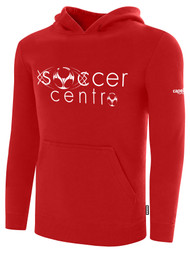 SOCCER CENTRO BASICS  FLEECE HOODIE  TEXT CENTER FRONT RED WHITE