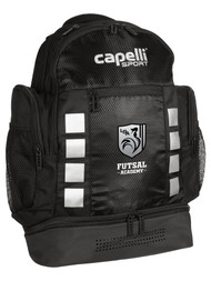"ROCKPORT FUTSAL 4 CUBE BACKPACK 11.5""L x 7""W x 19""H BLACK SILVER"