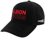 ALBION SC MIAMI TEAM BASEBALL CAP CENTER FRONT RED ALBION NATION TEXT LOGO BLACK WHITE