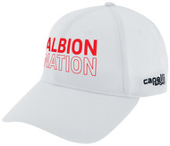 ALBION SC MIAMI TEAM BASEBALL CAP CENTER FRONT RED ALBION NATION TEXT LOGO WHITE BLACK