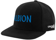 ALBION SC MIAMI II TEAM FLAT BRIM CAP CENTER FRONT BLUE ALBION TEXT LOGO BLACK WHITE