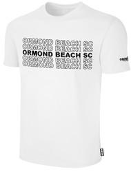 ORMOND BEACH BASIC SHORT SLEEVE COTTON T-SHIRT MULTI ORMOND BEACH SC TEXT ON CENTER FRONT -- WHITE BLACK