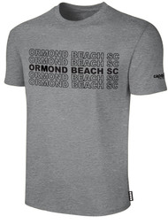 ORMOND BEACH BASIC SHORT SLEEVE COTTON T-SHIRT MULTI ORMOND BEACH SC TEXT ON CENTER FRONT -- LIGHT HEATHER GREY BLACK