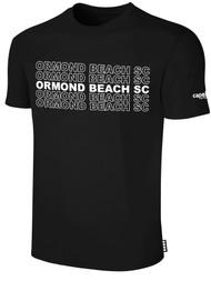 ORMOND BEACH BASIC SHORT SLEEVE COTTON T-SHIRT MULTI ORMOND BEACH SC TEXT ON CENTER FRONT -- BLACK WHITE