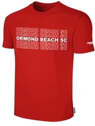 ORMOND BEACH BASIC SHORT SLEEVE COTTON T-SHIRT MULTI ORMOND BEACH SC TEXT ON CENTER FRONT -- RED WHITE