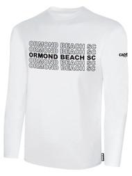 ORMOND BEACH BASIC LONG SLEEVE COTTON T-SHIRT MULTI ORMOND BEACH SC TEXT ON CENTER FRONT -- WHITE BLACK