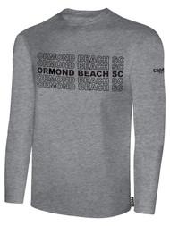 ORMOND BEACH BASIC LONG SLEEVE COTTON T-SHIRT MULTI ORMOND BEACH SC TEXT ON CENTER FRONT -- LIGHT HEATHER GREY BLACK