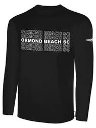 ORMOND BEACH BASIC LONG SLEEVE COTTON T-SHIRT MULTI ORMOND BEACH SC TEXT ON CENTER FRONT -- BLACK WHITE