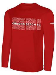 ORMOND BEACH BASIC LONG SLEEVE COTTON T-SHIRT MULTI ORMOND BEACH SC TEXT ON CENTER FRONT -- RED WHITE
