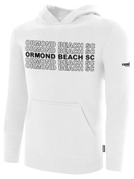 ORMOND BEACH BASICS FLEECE HOODIE MULTI ORMOND BEACH SC TEXT ON CENTER FRONT -- WHITE BLACK