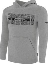 ORMOND BEACH BASICS FLEECE HOODIE MULTI ORMOND BEACH SC TEXT ON CENTER FRONT -- LIGHT HEATHER GREY BLACK
