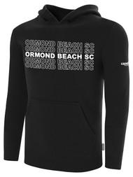 ORMOND BEACH BASICS FLEECE HOODIE MULTI ORMOND BEACH SC TEXT ON CENTER FRONT -- BLACK WHITE